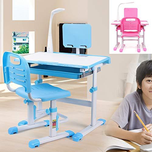 Kinderschreibtisch höhenverstellbar Schülerschreibtisch mit Stuhl und Schublade, mit LED Lampe, Leserahmen und Erweiterungsplatine (Blau)