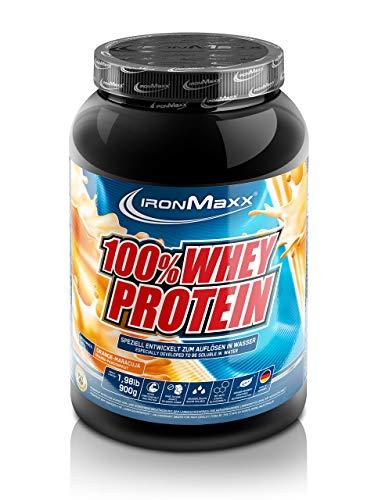 IronMaxx 100% Whey Protein - 900g Dose - 18 Portionen - Orange Maracuja - Hochwertiges Eiweißpulver für Proteinshake auf Wasserbasis - 36 leckere Geschmäcker - Designed in Germany