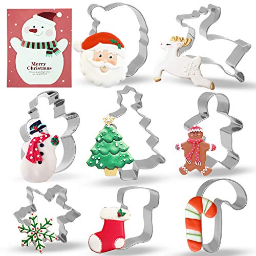 Conleke Christmas Cookie Cutter Set, 8 Pieces Stainless Steel Cutters Molds for Making Santa, Gingerbread Men, Reindeer, Christmas Tree, Snowflake, Snowman, Sock, Candy Canes with Merry Christmas Card
