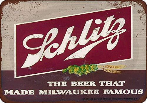 Promini 1947 Schlitz Beer Rustic Retro Metal Sign 12x18 Inch Decorative Aluminum Metal Sign Wall Art Home Decor