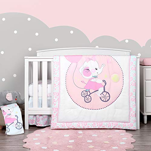 TILLYOU Luxury 4 Pieces Elephant Crib Bedding Set (Embroidered Crib Comforter, Crib Sheets, Crib Skirt) - Microfiber Printed Nursery Bedding Set for Girls Boys - Pink Elephant