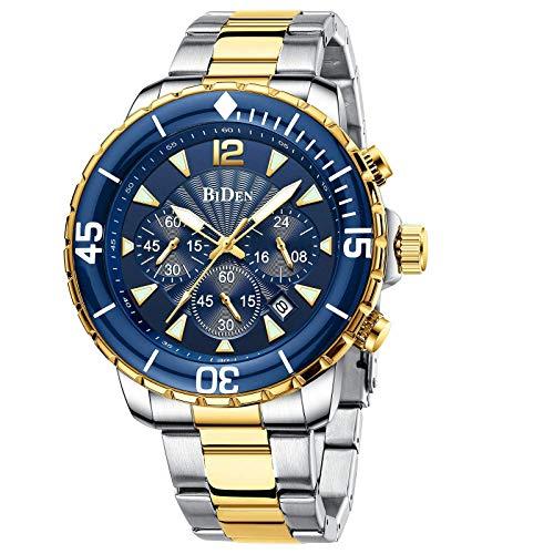 Herren Uhr Männer Chronographen Edelstahl Wasserdicht Designer Armbanduhr Herren Leuchtende Analog Datum Metallarmband Großes Datum Kalender Business Uhr für Herren-Gold Blue