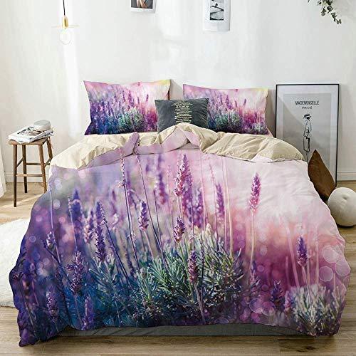 Zozun Duvet Cover Set Beige,Fantasy Dreamlike Herbal Meadow Close up View Magical Nature Theme, Decorative 3 Piece Bedding Set with 2 Pillow Shams