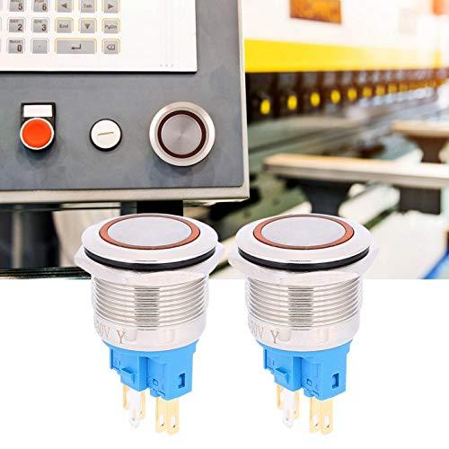Botón de 6 pines, interruptor de botón pulsador de acero inoxidable IP65, botones para suministros industriales Control industrial Componentes de control industrial(Orange)