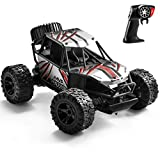 TAFULOR RC Cars for Boys Age 8-12, High Speed Remote Control Car, 2.4 GHZ Aluminium Alloy Off Road Monster Trucks with Two Rechargeable Batteries Gifts for Kids Adults, Silver and Red