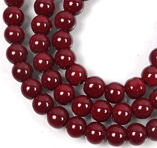 50 Czech Glass Round Beads - Maroon/Amaranth 6mm