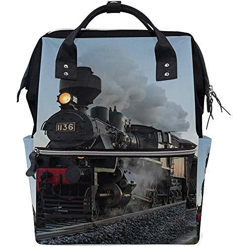 Rucksack Vintage Steam Train Windel 28X18X40Cm Rucksack Casual Baby Taschen Große Kapazität Mama Multifunktions-Reißverschluss Rucksäcke Papa Unisex