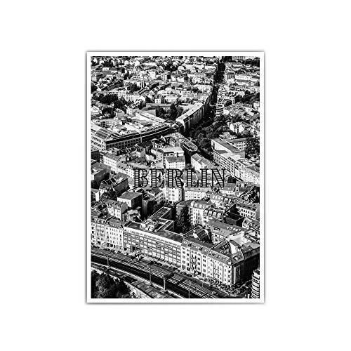 Berlin von oben Poster - din a4 oder 30x40cm - Berlin schwarz weiß Bild - City - Stadt Poster - Mitte - ohne Bilderrahmen