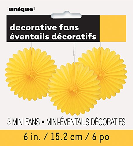 Unique Party 63259 - Mini Yellow Tissue Paper Fan Decorations, Pack of 3