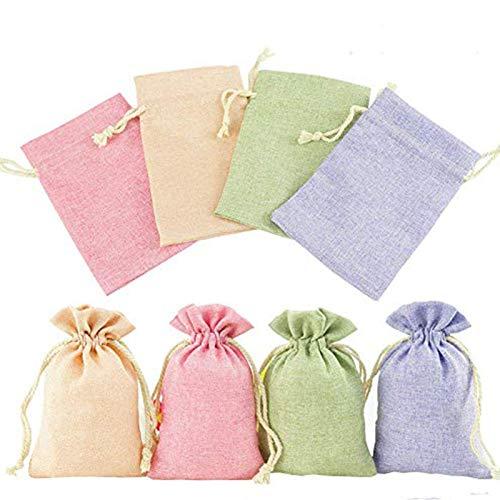 ToBeIT Jutesäckchen 24 Stücke 10 * 14cm Natur Säckchen - Jutebeutel Geschenksäckchen mit Tunnelzug klein Verpackung für Schmuck Hochzeit Party Feiern Weihnachten (4 Farbe)