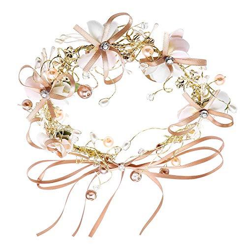 JAHEMU Diadema Novia Tiara Corona Flores Guirnalda cabello floral Bridal Headband Flower...