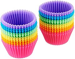 24-pack of reusable baking cups; made of food-grade silicone; ideal for baking, lunch/snack cups, and more Cost-saving alternative to disposable paper cups; works with any standard muffin pan Effortless food release—no greasing or cooking spray neede...