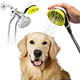 Wondurdog Quality Dog Wash Kit for Shower with Splash Shield Handle and Rubber Grooming Teeth. Indoor and Indoor/Outdoor Versions Available. Wash Your Pet. Don't Get Wet!