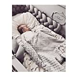 Infant Soft Pad Braided Crib Bumper Knot Pillow Cushion Cradle Decor for Baby Girl and Boy (Grey, 79')