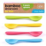 Get Fresh Cucharas de Bambú para Niños - Set de 4 Cubiertos Reutilizables de Bambú para Bebes y Adultos - Vajilla Fibra de Bambú Aptas para el Lavavajillas - Cucharas Infantiles de Bambú sin BPA