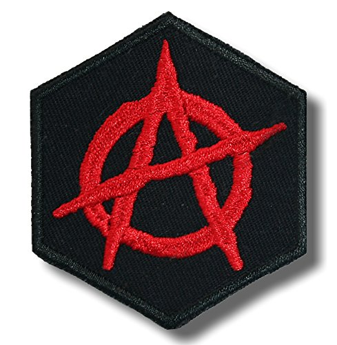 Anarchy symbol variation 3 - embroidered patch, 5x6 cm.