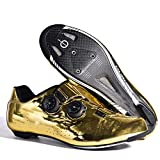 ZQW Unisex Mens Womens Road Bike Cycling Shoes, Riding Shoes with Compatible Cleat Peloton Shoe with SPD and Delta for Lock Pedal Bike Shoes (Color : Gold, Size : 10)