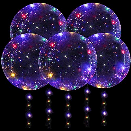 DANIDEER Led BoBo Balloons ,18 Inch 5 PCS Transparent Helium Balloons with String Lights, LED light up Balloons for Birthday, Indoor or Outdoor event, Wedding, Christmas and Party Decoration (colorful)