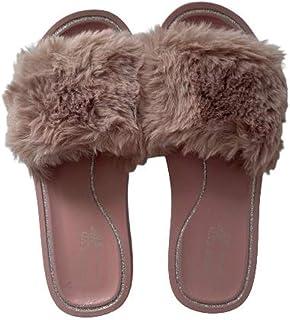 Cute Comfy Open Fleece Home Slippers for Women, Slides, Indoor Outdoor Slip on Shoes