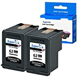 SuperInk Remanufactured Ink Cartridge Replacement for HP 62XL 62 XL Compatible with Envy 7640 5660 5540 7645 5640 5642 Officejet 5741 5740 8040 OfficeJet 250 200 Mobile Printer (Black, 2 Pack)