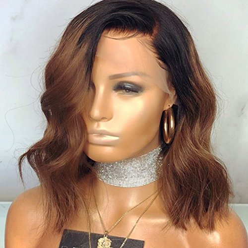 Wowsexy Hair Ombre 1B/30 Wavy Short Bob Lace Front Human Hair Wigs for African American Women Brazilian Virgin Hair Two Tone Lace Wigs with Pre-plucked Hairline (12 inch Lace Front Wig, 1B30 Wavy)