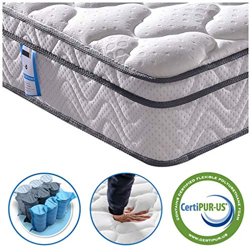 Vesgantti 10.3 Inch Pocket Sprung Mattress with Breathable Foam and Individually Wrapped Spring - Medium Firm Feel, Classic Box Top Collection