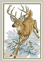 刻印されたクロスステッチキット初心者の刺繡-鹿のランニング-11CT印刷済みのクロスステッチ用品家の装飾のためのDIYニードルポイント手工芸かぎ針編みギフトキット(16x20インチ)