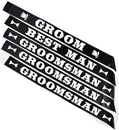 BroSash Groom Wedding Party Sash Bundle Set of 5, Groom (x1), Best Man (x1), Groomsman (x3) Bachelor Bridal Shower Supplies Decorations Favors Gifts Black Sashes White Letters Kit Accessories Decor