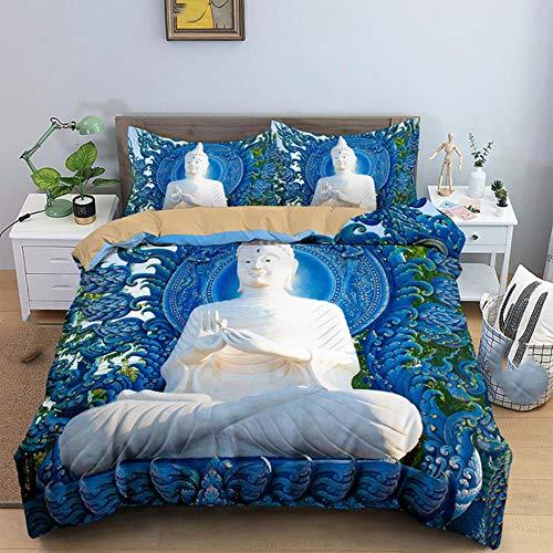 Juego de Cama de Buda Azul de Tailandia Queen King 14 tamaños 2/3 Piezas Juegos de Funda nórdica con Fundas de edredón de Almohada