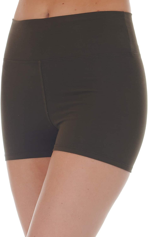 SR Women's Cotton High Waist Active Yoga Workout Shorts (Size: XS-5X)
