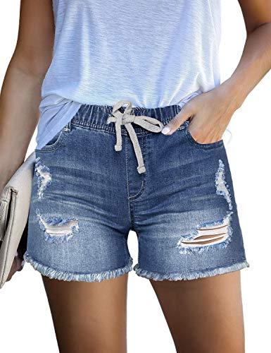 luvamia Women's Ripped Denim Jean Shorts Elastic Waist Drawstring Casual Shorts Denim Blue 310 Size Medium