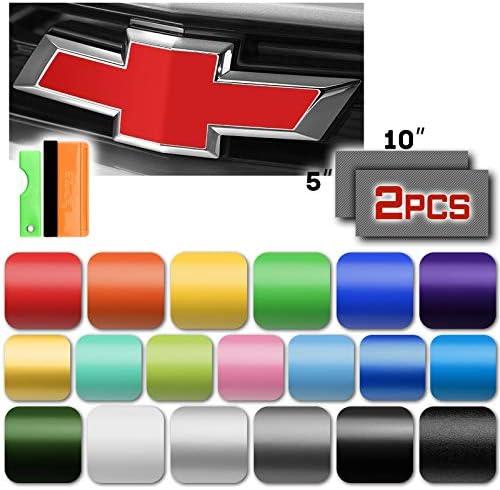 EZAUTOWRAP Free Tool Kit 2Pcs 5 x10 Chevy Emblem Bowtie Matte Black Vinyl Wrap Sticker Decal product image