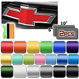EZAUTOWRAP Free Tool Kit 2Pcs 5'x10' Chevy Emblem Bowtie Matte Silver Vinyl Wrap Sticker Decal Film Sheet