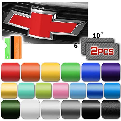 EZAUTOWRAP Free Tool Kit 2Pcs 5'x10' Chevy Emblem Bowtie Matte Pink Vinyl Wrap Sticker Decal Film Sheet