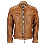 Blouson vintage style motard pour homme en cuir marron véritable délavé - Avec...
