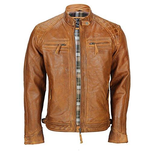 Xposed Chaqueta para hombre - De cuero auténtico suave y envejecido, Color marrón óxido, estilo vintage, con cremallera