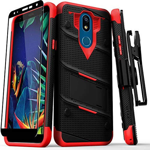 ZIZO Bolt Series LG K40 Case | Military-Grade Drop Protection w/Kickstand Bundle Includes Belt Clip Holster LG Harmony 3 Black Red