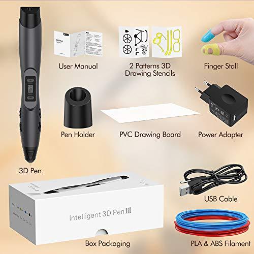 3D Stift, Aerb 3D Pen Stift mit 1,75mm PLA/ABS Filament, 8 Einstellbare Geschwindigkeit mit LCD-Bildschirm 3D Printing Pen für Kinder Erwachsene, Bestes Geschenk für DIY, Kritzelei, Zeichnung und Kunst & Handgefertigte Werke - 8