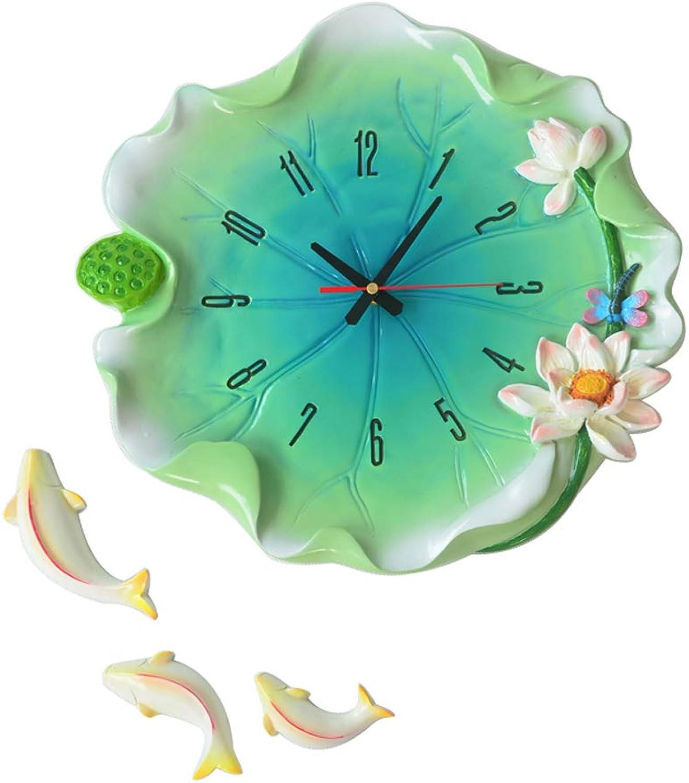 YONGMEI Wall Clock - Creative Garden Wall Clock Living Room Mute Bedroom Wall Clock Hanging Table European Clock Wall Table Large (color   Green, Size   38.5  36.5cm)