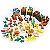 City Food Building Block Accessories Bricks Set Pack 136 Pieces People Friends House Kitchen Mini Farm Restaurant Parts Creator Kits Toys for Kids Age 6-12
