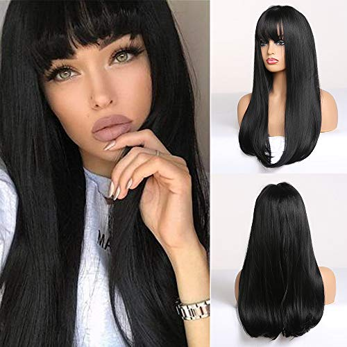 MISHAIR Donna Parrucca Lunghi con Frangia Wigs Parrucca nero Morbida Parrucche capelli lisci Capelli neri Anime Cosplay Ragazze 28 pollici