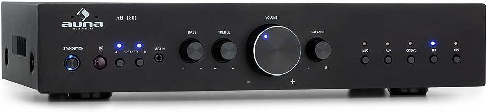 AUNA AV2-CD608BT Amplificador estéreo HiFi – Potencia de Salida Media de 4 x 100 W, Bluetooth, Puerto USB para Archivos MP3, Entrada Digital optica y 4 RCA, Mando a Distancia por Infrarrojos, Negro
