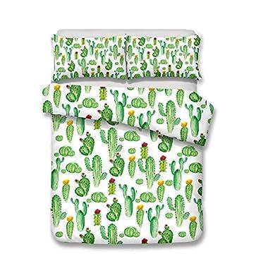 Helengili 3D Digital Printing Bedding Set Cactus Barbary Fig Cereus Cacti Bedding Bedclothes Duvet Cover Sets Bedlinen 100 Percent Microfiber Present ,King