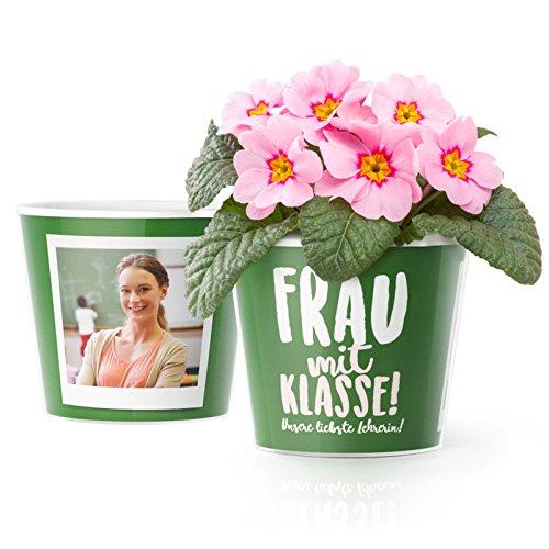 MyFacepot Frau mit Klasse! Blumentopf (ø16cm) | Geschenk für Lehrerinnen zum Abschied Schule mit Rahmen für Zwei Fotos (10x15cm) | Unsere liebste Lehrerin!