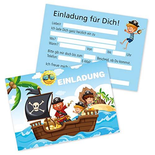 Clever Pool Pirat-Einladungskarten - 15 Stück in einem Set - Kindergeburtstagskarten für Mädchen und Jungen - vielseitig einsetzbare Einladungen - hochwertig und edel - mit praktischer Ausfüllhilfe