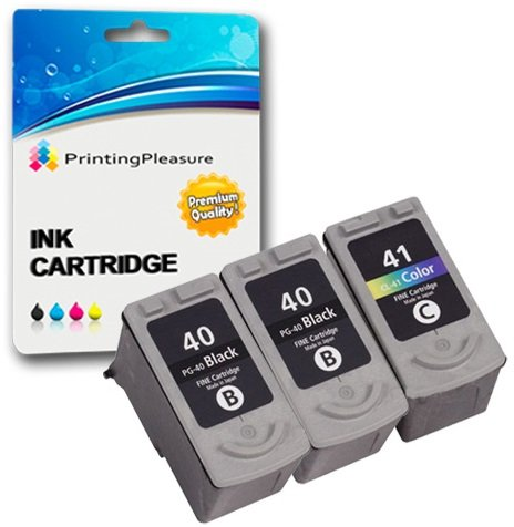 3 Compatibili PG-40 CL-41 Cartucce d'inchiostro per Pixma iP1600 iP1800 iP1900 iP2200 iP2500 iP2600 MP140 MP150 MP160 MP170 MP180 MP190 MP210 MP450 MP460 MX300 MX310 - Nero/Colore, Alta Capacità