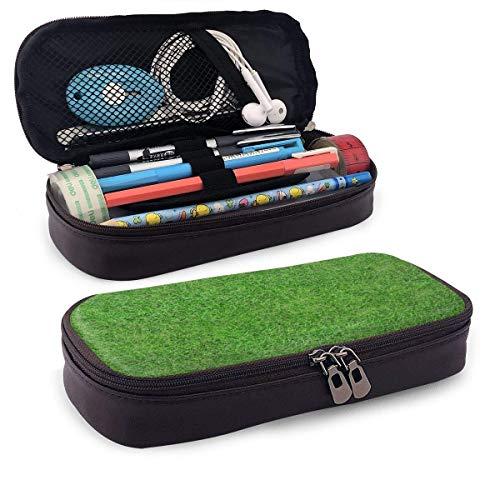 Rasengras-Effekt Vinylboden Grüne Leder-Federmäppchen mit Stifthalter, Briefpapier mit großer Kapazität, Kosmetiktasche