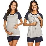 Ekouaer Womens Maternity Nursing Pajama Set, Breastfeeding PJ Sets Short Sleeve Nightgown Sleep Set(Navy Blue S)