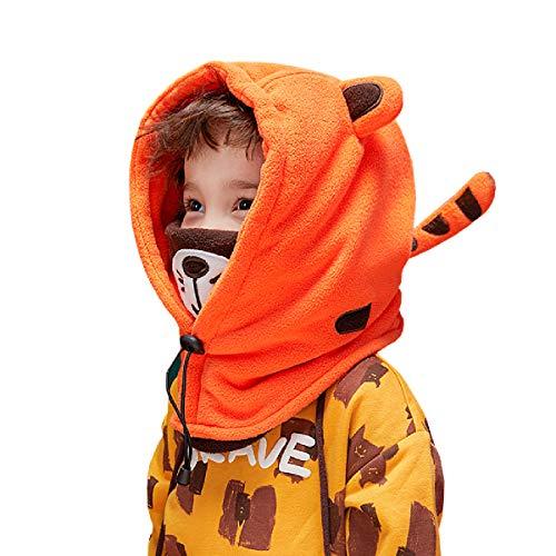 Azarxis Kinder Sturmhaube, Thermal Balaclava, Winddicht Skimaske, Gesichtsmaske für Outdoor Sport (Orange - Tiger)
