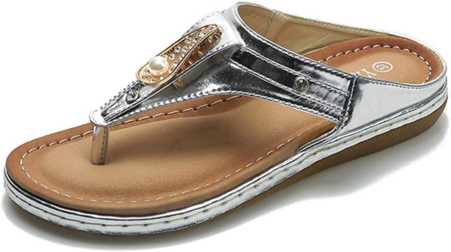 Tuoup Womens Leather Pearl Beaded Flat Flip Flops Thong Sandals
